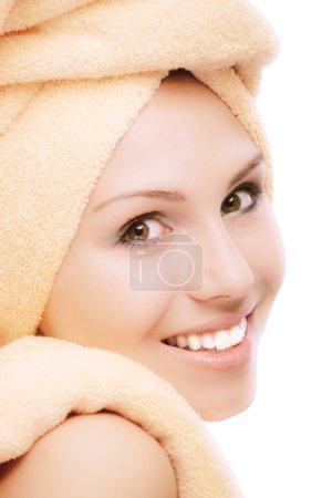 Fair girl after bath acceptance close up