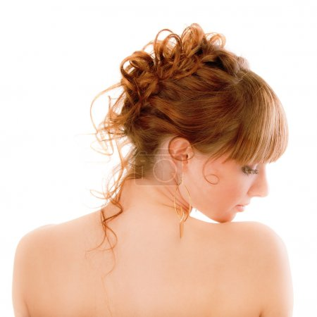 Profile of sexual young woman close up