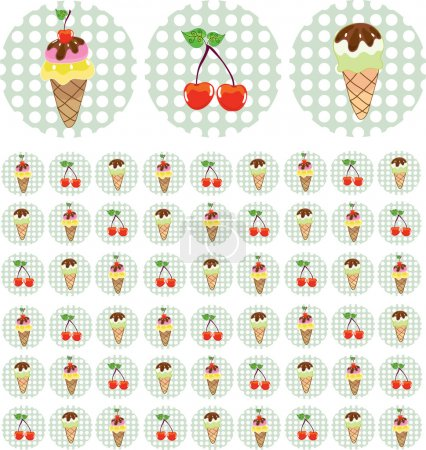 Illustration for Bright color background with ice-cream and cherry - Royalty Free Image