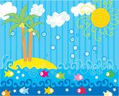 """Постер, картина, фотообои """"Вектор смешные морской пейзаж"""""""
