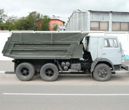 Grey truck on road