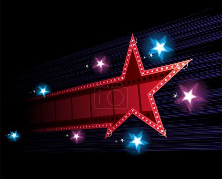Star shape neon for poster at cinema event...