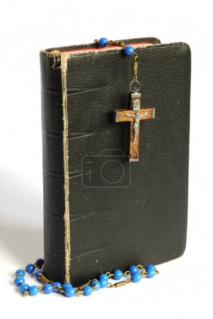 Photo for Old prayer book and rosary isolated on white - Royalty Free Image