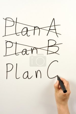 Photo for Someone writing plan A, B and C on a board - Royalty Free Image