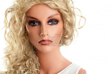 Mannequin with long blond hair