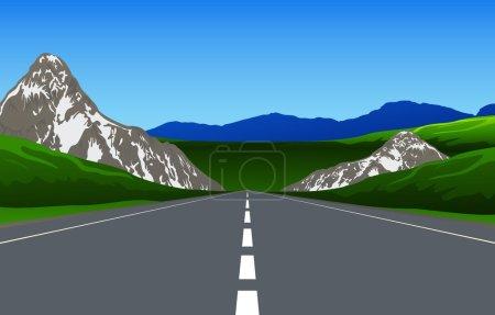 Illustration pour Chemin de montagne, illustration vectorielle - image libre de droit