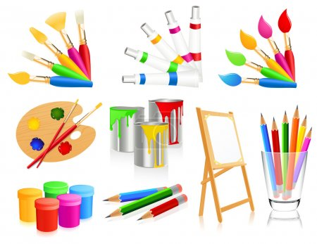 Illustration for Painting icons vector illustration - Royalty Free Image