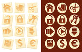 Icons on wooden background