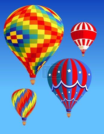 Illustration pour Ballons volant dans le ciel, illustration vectorielle, fichiers EPS et AI inclus - image libre de droit