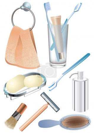 Illustration for Morning hygiene objects, vetcor illustration, EPS and AI files included - Royalty Free Image