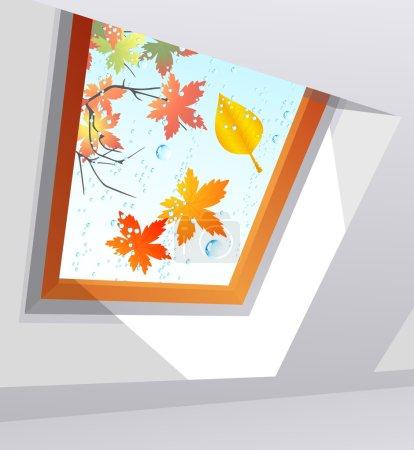 Autumnal wet window