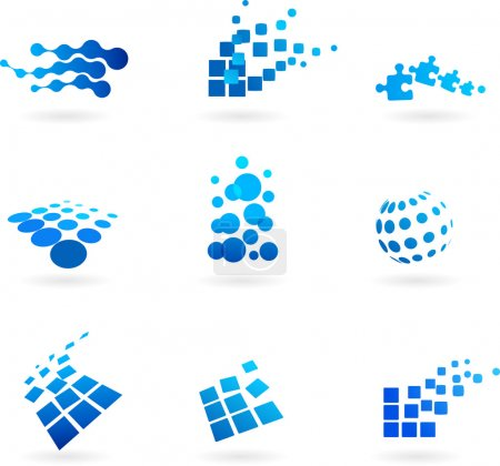 Photo for Collection of abstract blue icons / logos - Royalty Free Image