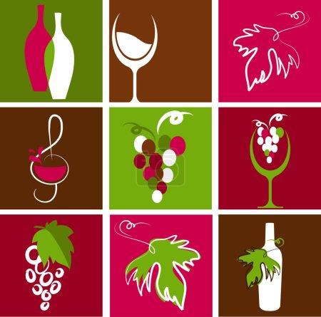 Illustration pour Collection d'icônes et logos de vin rétro - image libre de droit