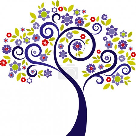 Illustration for Colourful decorative tree with floral graphic elements - Royalty Free Image