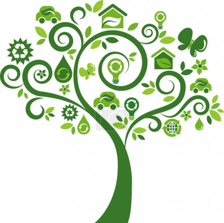 Photo for Green tree with many ecological icons and logos - Royalty Free Image