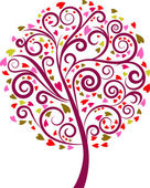 Colourful decorative tree with heart graphic elements