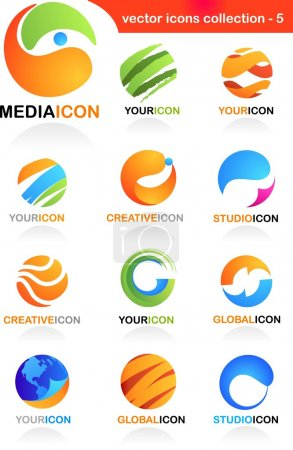 Illustration for Collection of abstract business icons - global media and communication theme - Royalty Free Image