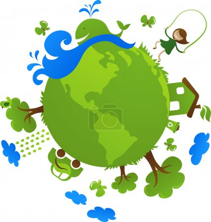 Illustration for Globe with cute eco icons - Royalty Free Image