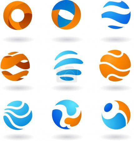 Illustration for Collection of abstract globe icons - Royalty Free Image