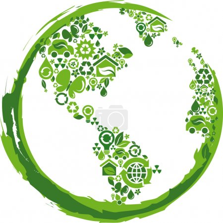 Illustration for Globe outline compose of green ecological icons - Royalty Free Image