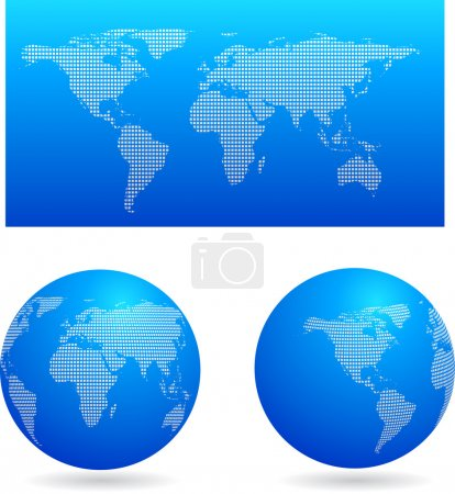 Illustration for Blue map and two globes - Royalty Free Image