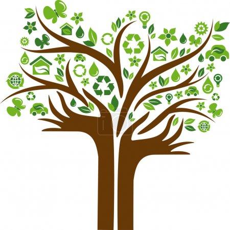 drzewo ekologiczny ikony z rąk