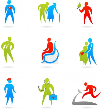 Photo for Collection of colourful healthcare icons - Royalty Free Image