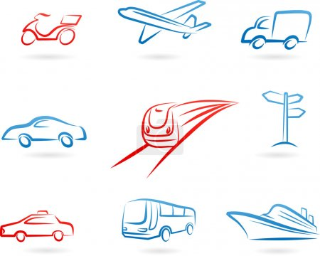 Illustration for Collection of line-art transportation icons and logos - Royalty Free Image