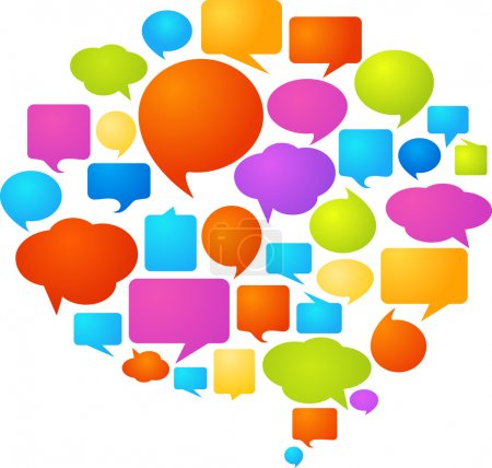 Photo for Collection of colorful speech bubbles and dialog balloons - Royalty Free Image