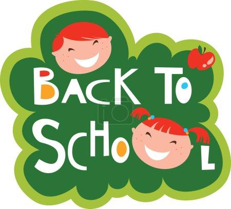 Illustration pour Illustration de retour à l'école avec des enfants heureux - image libre de droit