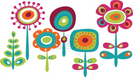 Illustration for Cute colorful flowers, childish vector illustration - Royalty Free Image
