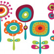 Cute colorful flowers, childish vector illustratio...
