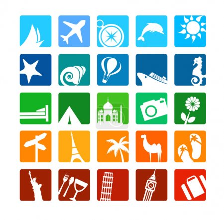 Photo for Huge tourism and vacation icons set - Royalty Free Image