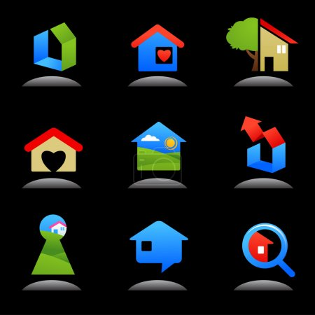 Illustration for Collection of glossy real estate icons / logos - Royalty Free Image