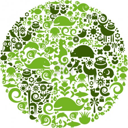 Illustration for Green globe outline made from birds, animals and flowers icons - Royalty Free Image