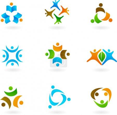 Illustration pour Collection d'icônes et de logos humains - image libre de droit
