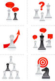 Six business concepts illustration with chess figures