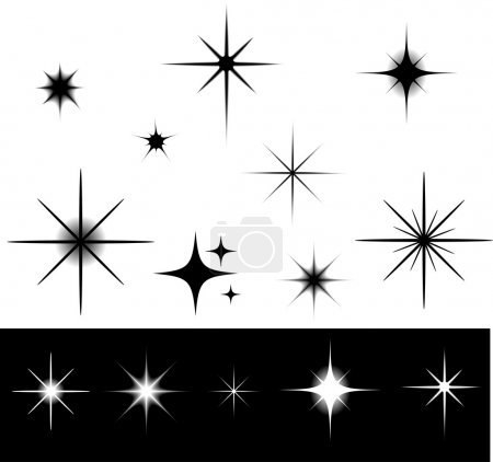 Illustration for Black and white stars - Royalty Free Image