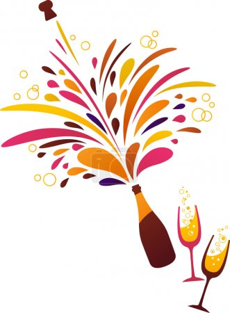 Illustration pour Champagne éclaboussure fond funky propre - image libre de droit