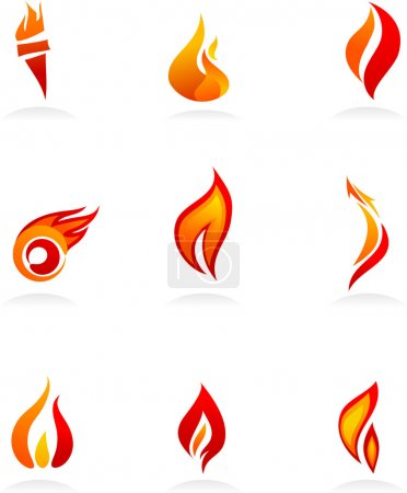 Illustration for Collection of fire icons and logos - Royalty Free Image