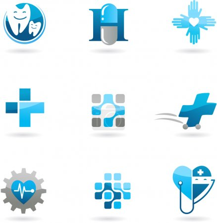 Photo for Collection of blue medicine and health-care icons and logos - Royalty Free Image