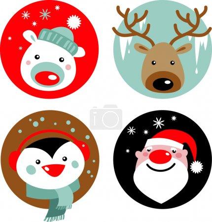 Photo pour Personnages de Noël - père Noël, renne, pingouin et ours polaire - image libre de droit