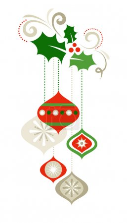 Illustration for Christmas decorations with holly leaves - Royalty Free Image