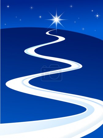 Illustration for Guiding star lighting the way - Royalty Free Image