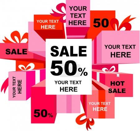 Illustration pour Affiche de vente de Noël avec de nombreux éléments de design - image libre de droit