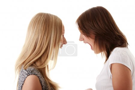 Two angry womans shouting each other