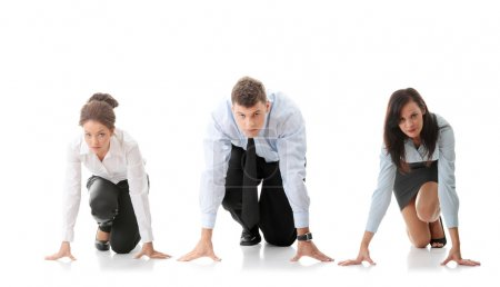 Photo for Rat race concept. Three businesspeople ready to start race - Royalty Free Image