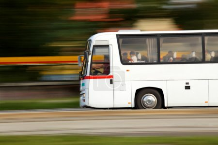 Photo for Summer vacation is over and we return home by bus, travel and transport - Royalty Free Image