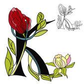 Floral font2 Letter K
