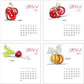 Template for calendar 2011 Vegetable Part 2